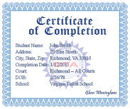 Virginia completion certificate